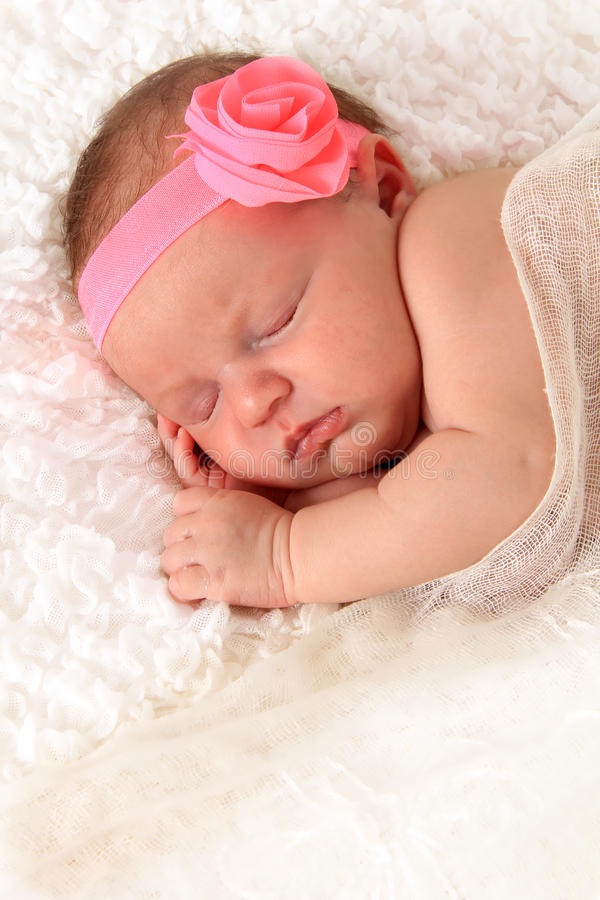 Newborn girl stock photo