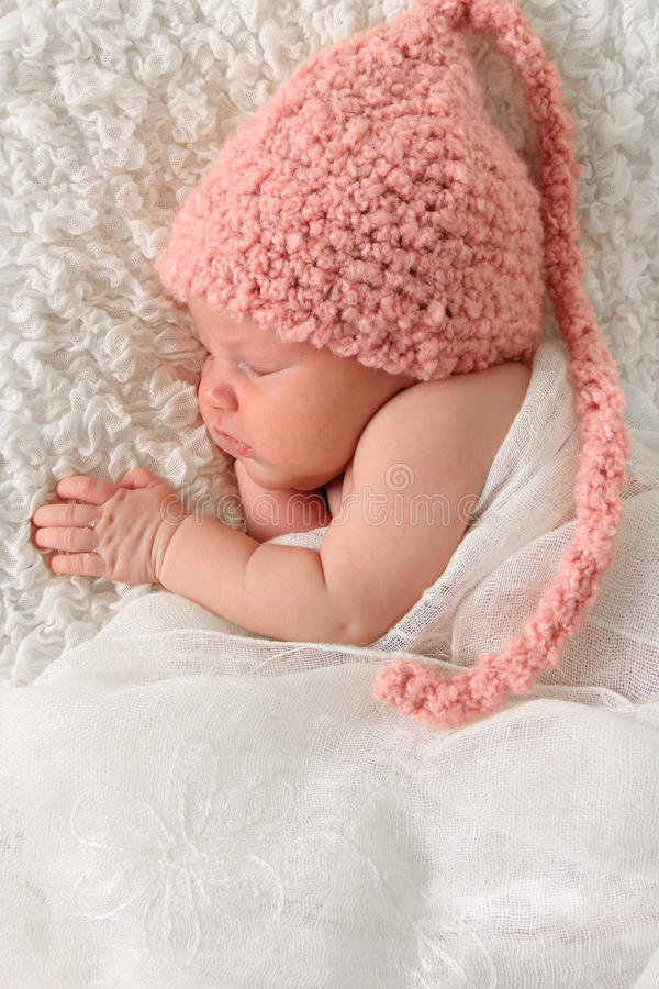 Newborn girl stock photos