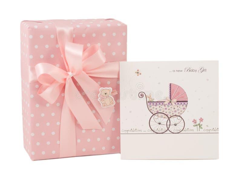 Newborn girl pink gift box greeting card isolated stock photo