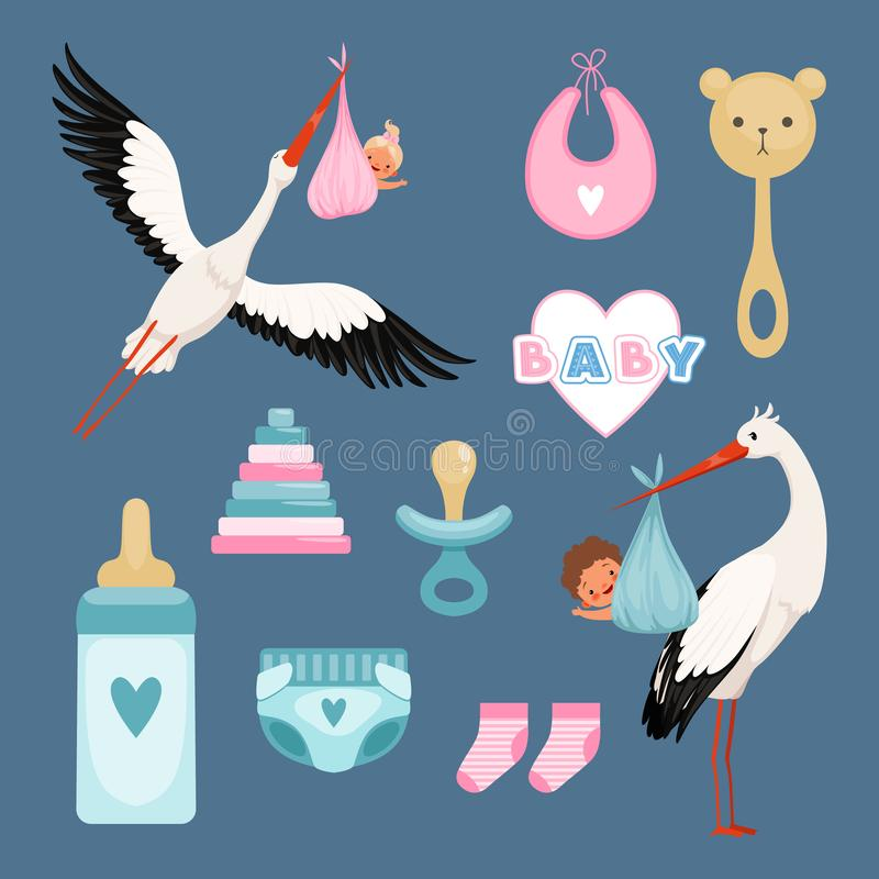 Newborn icons set. Cute items for kids dresses flowers toys toddler flying stork with baby vector colored items. Illustration of baby girl and boy, newborn vector illustration