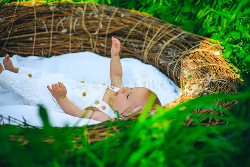 Newborn little baby. Nurse and walk with the child. Breast or bottle feed for newborn little baby. Following visiting. Nurse advice. The baby cant feed itself stock photography