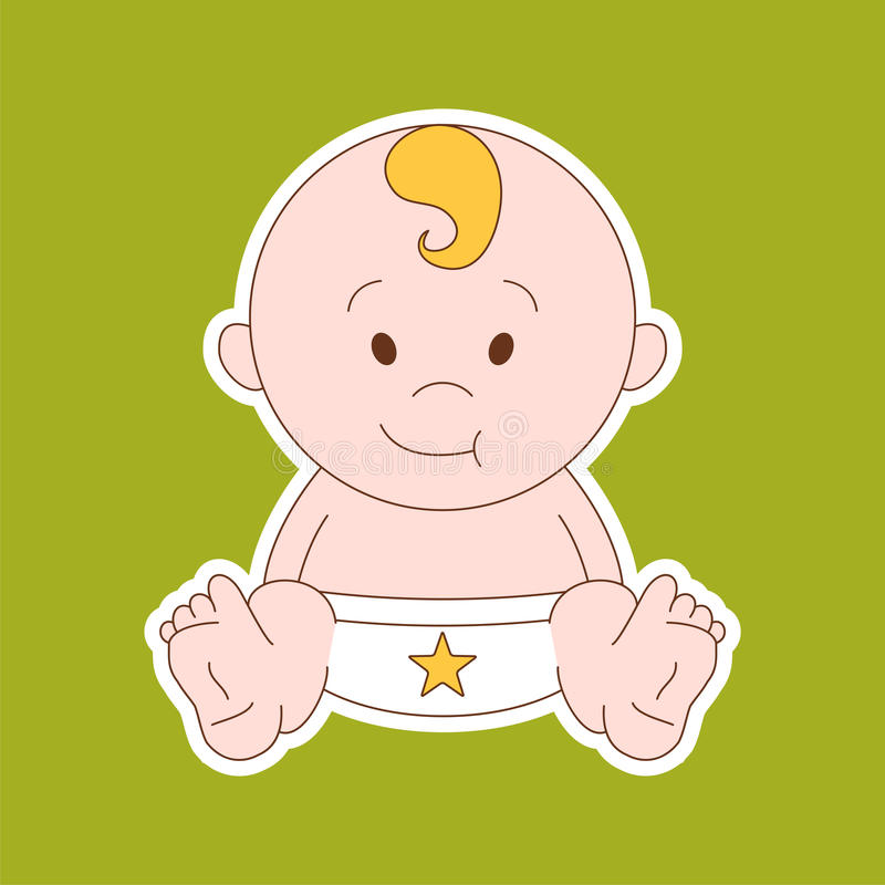 Newborn little baby - stylized art for logos, signs, icons and d royalty free illustration