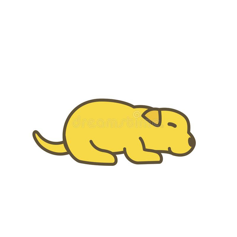 Newborn puppy dog. Animal pets. Little young Labrador retriever. Yellow pup with contour line. Vector illustration. stock illustration