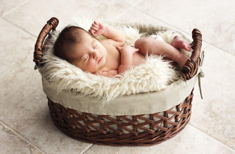 Newborn Resting In Fur Blanket Stock Photography