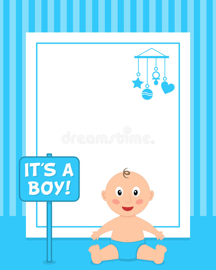 Newborn It\'s A Boy Vertical Photo Frame Stock Vector - Illustration ...