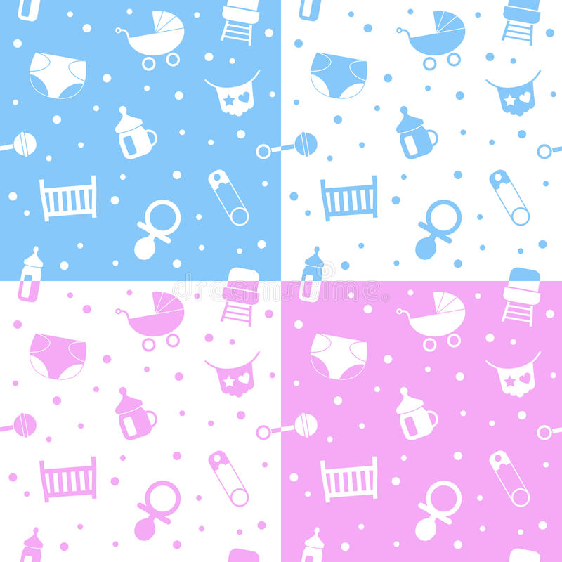 Download Newborn Seamless Patterns stock vector. Image of icons - 27472539