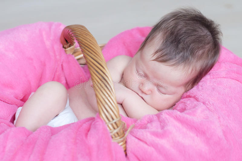 Newborn sleeping. Infant baby girl closeup lying on pink blanket in basket. Cute portrait of child. Newborn sleeping. Infant baby girl closeup lying on pink stock photography