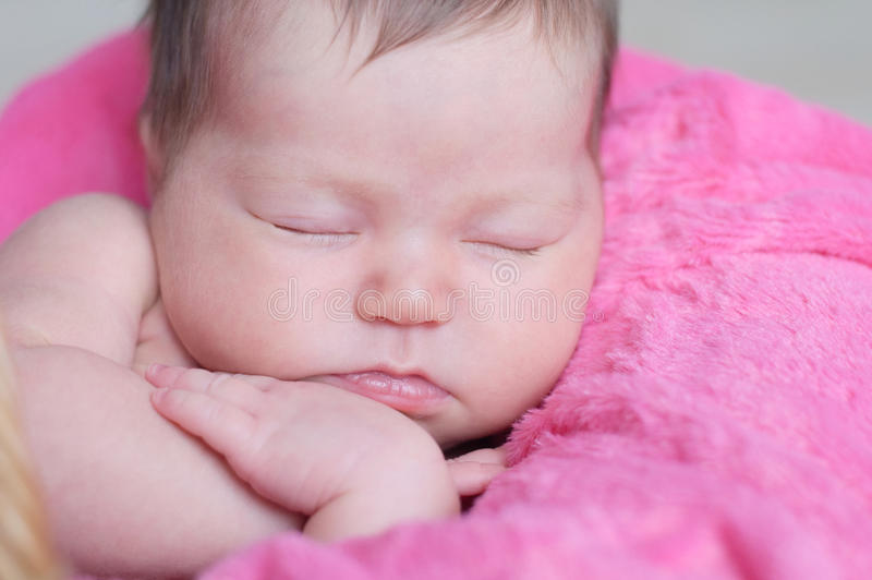 Newborn sleeping. Infant baby girl closeup lying on pink blanket in basket. Cute portrait of child. Newborn sleeping. Infant baby girl closeup lying on pink royalty free stock images