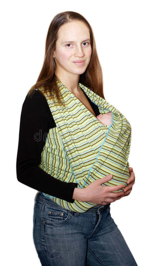 Newborn In The Sling Royalty Free Stock Image