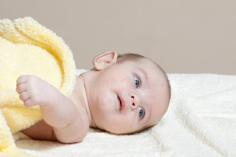 Download Newborn In Soft Yellow Blanket Stock Photo - Image: 26941934