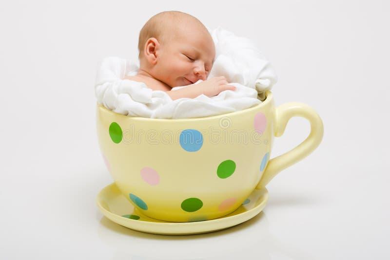 Newborn in Yellow Cup stock image