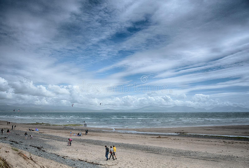Newborough strand Angelsey norr Wales royaltyfria foton