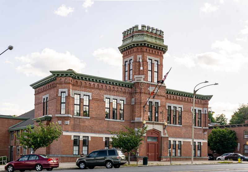 Newburgh, NY / United States - July 14, 2019:  a view of  the New York State Armory built in 1880 by John A. Wood stock photography