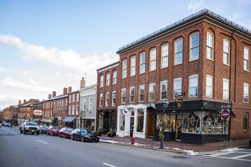 Newburyport,历史的城市在爱塞克斯郡,马萨诸塞 免版税库存图片