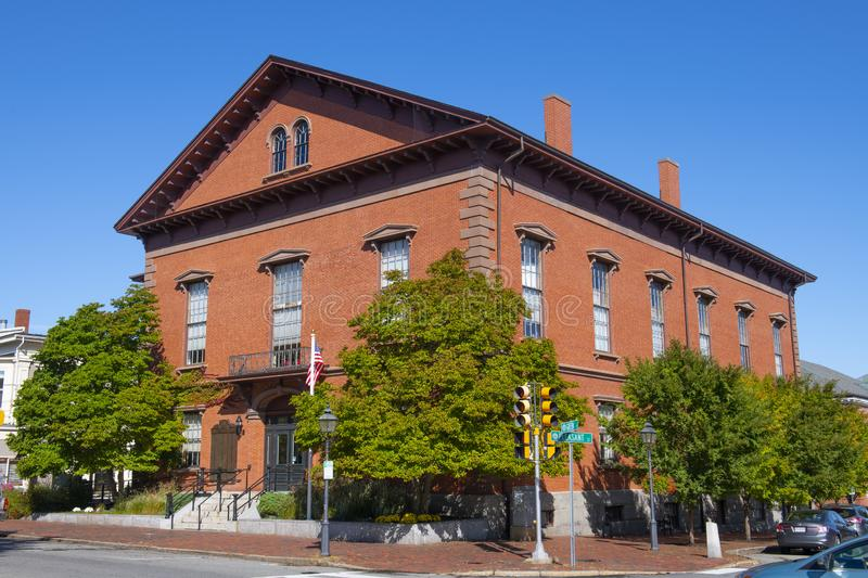 Newburyport City Hall, MA, USA. Newburyport city hall on Pleasant Street in downtown Newburyport, Massachusetts, MA, USA stock image