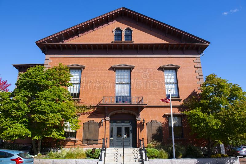 Newburyport City Hall, MA, USA. Newburyport city hall on Pleasant Street in downtown Newburyport, Massachusetts, MA, USA royalty free stock photo