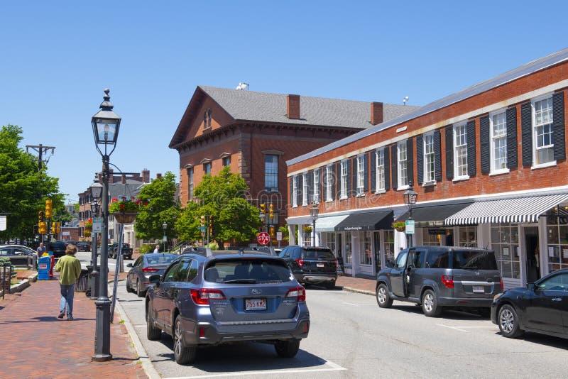Newburyport historic downtown, MA, USA. Newburyport historic buildings at Green Street in downtown Newburyport, Massachusetts, MA, USA stock photos
