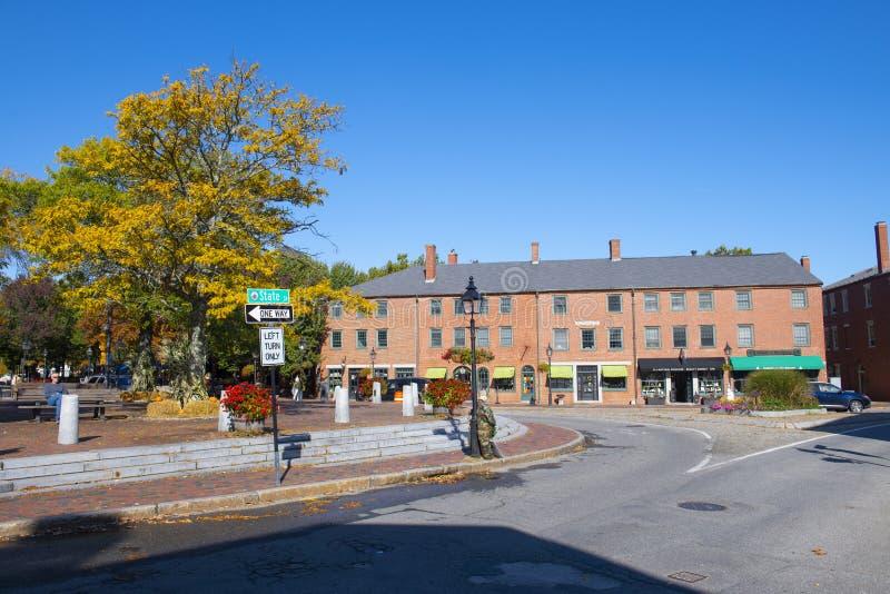 Newburyport historic downtown, MA, USA. Newburyport historic buildings at Market Square in downtown Newburyport, Massachusetts, MA, USA stock photos