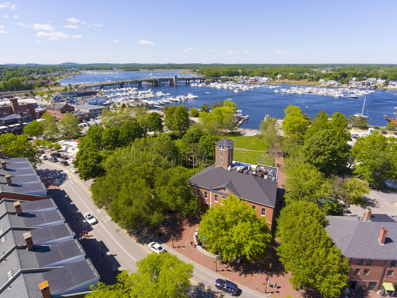 Newburyport historic downtown aerial view, MA, USA. Newburyport historic downtown including Merrimack Street and Waterfront Promenade Park with Merrimack River stock photography