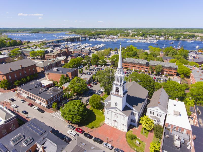 Newburyport historic downtown aerial view, MA, USA. Newburyport historic downtown including State Street and First Religious Society Unitarian Universalist stock photography