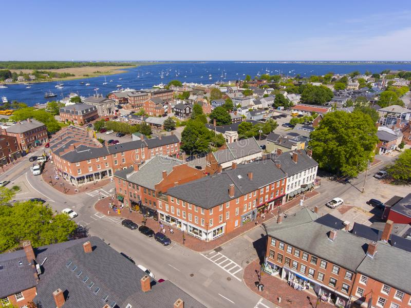 Newburyport historic downtown aerial view, MA, USA. Newburyport historic downtown including State Street and Market Square with Merrimack River at the background royalty free stock images