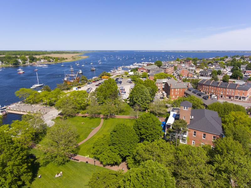 Newburyport historic downtown aerial view, MA, USA. Newburyport historic downtown including Merrimack Street and Waterfront Promenade Park with Merrimack River royalty free stock photography