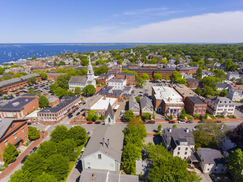 Newburyport historic downtown aerial view, MA, USA. Newburyport historic downtown including State Street and First Religious Society Unitarian Universalist royalty free stock photos