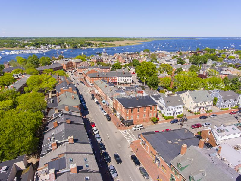 Newburyport historic downtown aerial view, MA, USA. Newburyport historic downtown including State Street and Market Square with Merrimack River at the background stock images