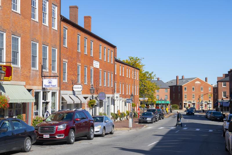 Newburyport historic downtown, MA, USA. Newburyport historic buildings at State Street in downtown Newburyport, Massachusetts, MA, USA stock image