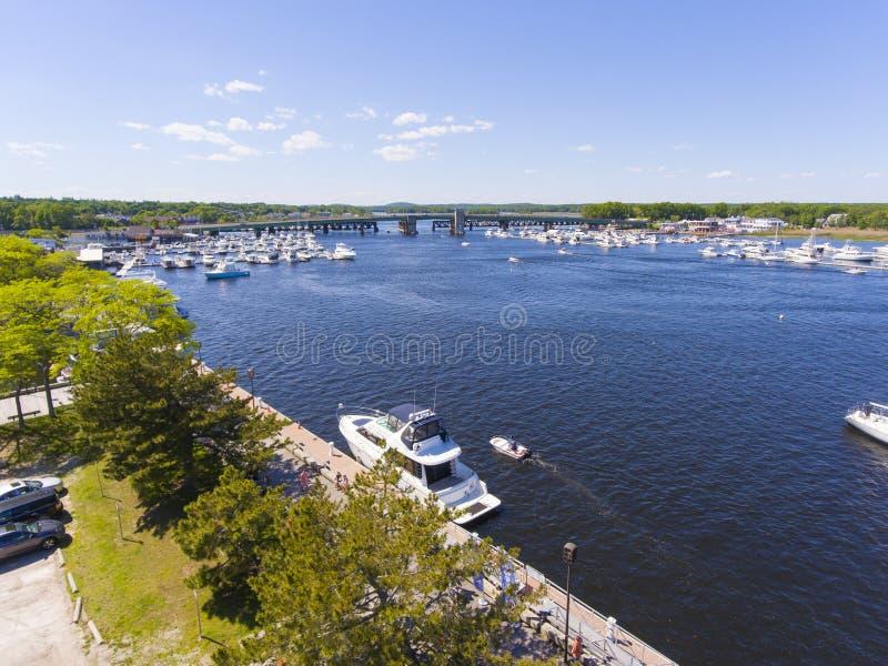 Newburyport Merrimack River aerial view, MA, USA. Newburyport waterfront and Merrimack River aerial view, Newburyport, Massachusetts, MA, USA stock photography