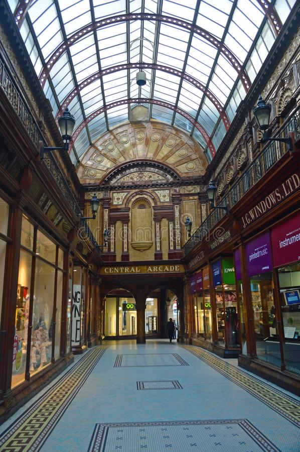 Newcastle - The central arcade in the city centre. The Central Arcade in Newcastle upon Tyne, England, is an elegant Edwardian shopping arcade built in 1906 royalty free stock images