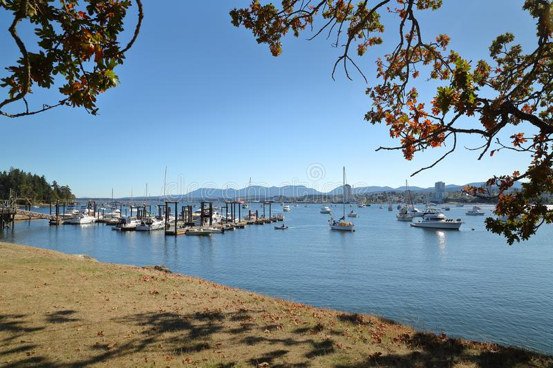 Newcastle Island Marina, Nanaimo, British Columbia. The view from Newcastle Island across the docks with downtown Nanaimo in the background. British Columbia stock photography