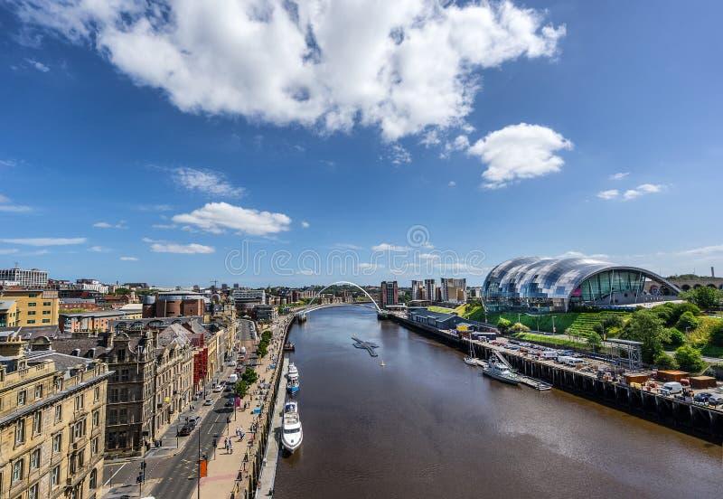 Newcastle-Kai auf Tyne River stockfotografie