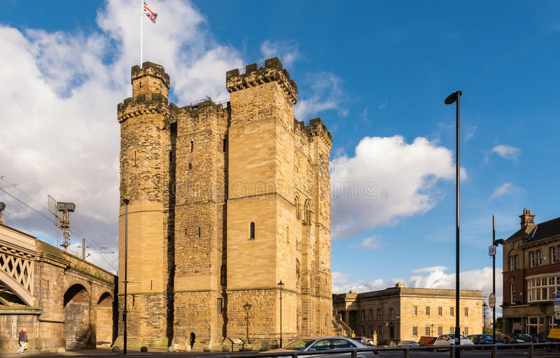 Newcastle's Castle Keep. And Black Gate in the city centre are all that remain of a medieval fortification which gave the city its name. Now combined as The royalty free stock image