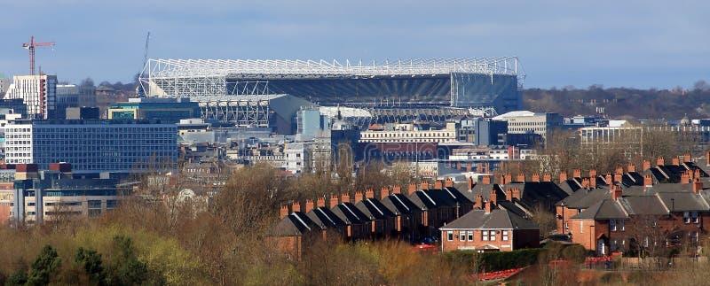Newcastle Stadium. Panorama of part of Newcastle upon Tyne, with the Newcastle United football stadium - St James Park dominating the skyline royalty free stock photo