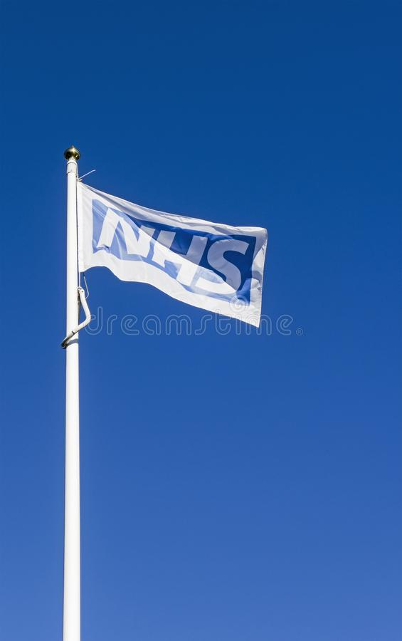 Newcastle upon Tyme, 27th September 2018. An NHS flag flutters over the Royal Victoria Hospital stock image