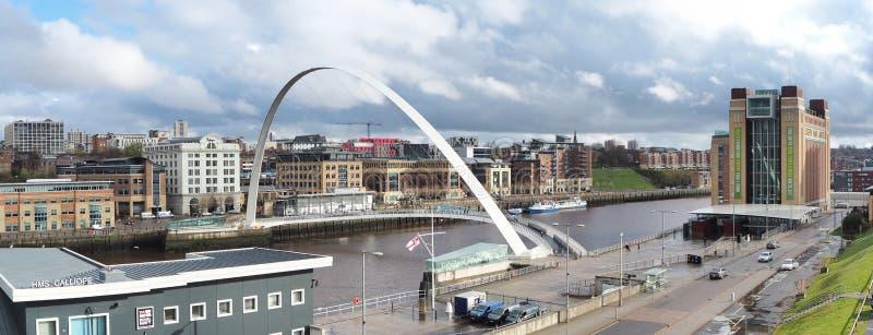 Newcastle upon Tyne, England, United Kingdom. The Gateshead Millennium bridge. A famous landmark royalty free stock image