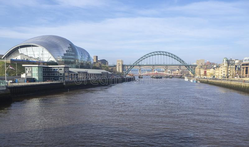 Newcastle upon Tyne, England, United Kingdom. The Sage Gateshead, a concert venue and also a centre for musical education. View from Millennium bridge royalty free stock image
