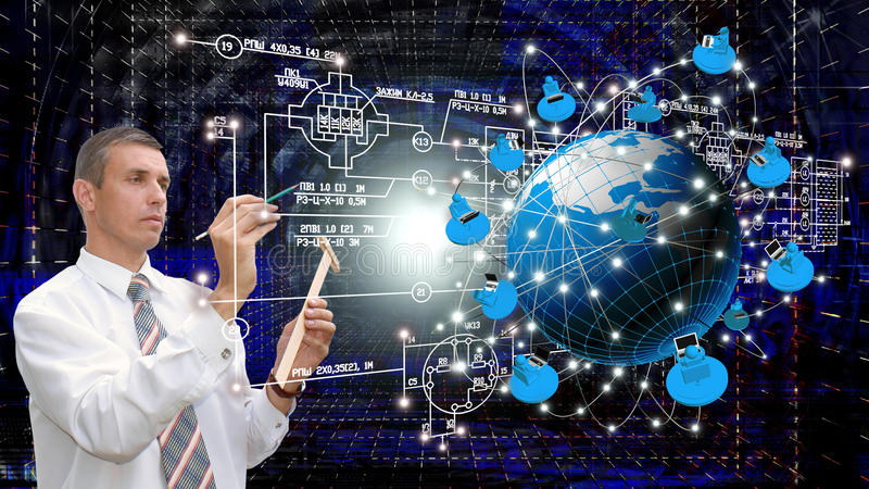 The newest Internet technologies. Engineering Internet technologies concept of global business.Designing royalty free stock photo