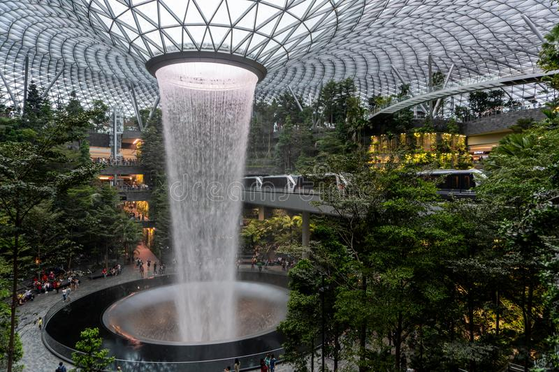 Newest man-made waterfall in Singapore at Jewel Department store in Changi Airport, Singapore royalty free stock photography