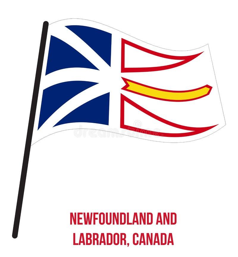 Newfoundland and Labrador Flag Waving Vector on White Background. Provinces Flag of Canada stock illustration