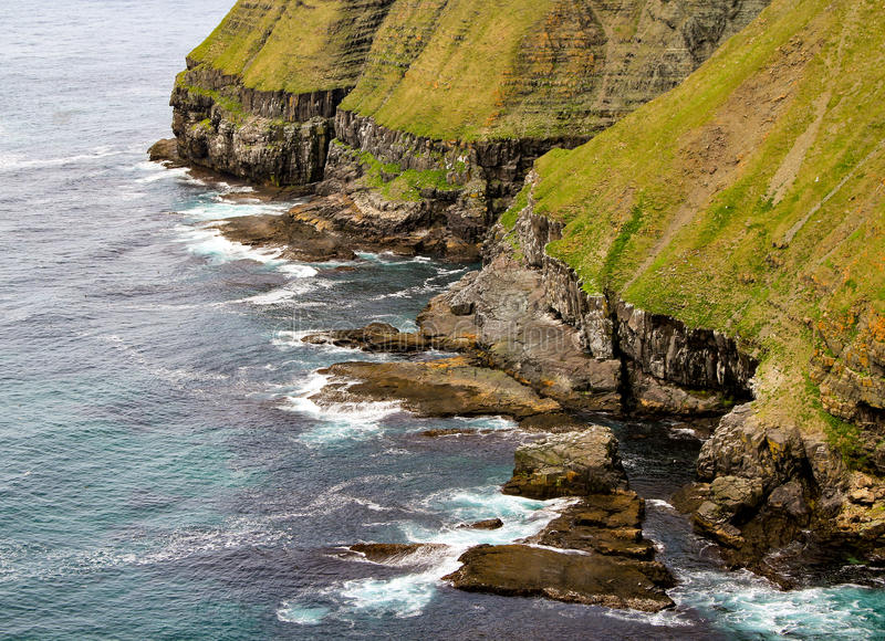 Newfoundland landscape. Green cliffs, landscape preserved at Cape Saint Mary`s Park in Newfoundland, Canada stock images