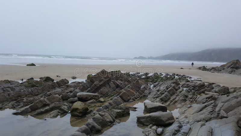 Newgale beach rock pools royalty free stock images