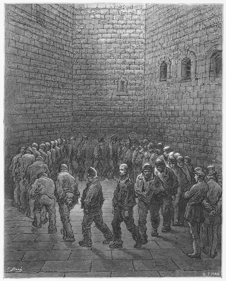 Newgate ,Exercise Yard. Picture from Gustave Dore's London: a Pilgrimage illustrated book published in 1873, London - UK