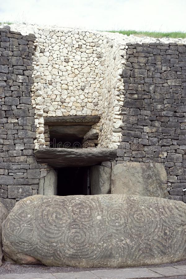 Newgrange Megalithic Passage Tomb. The passage tomb at Newgrange known as Brú na Bóinne in Gaelic served as a focus of ceremonial activity in the Late stock images