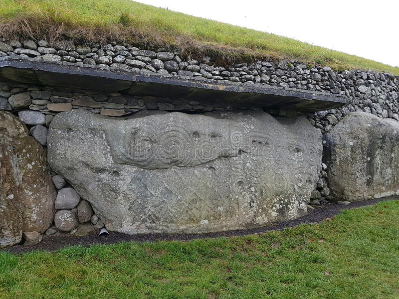Newgrange monument. Newgrange is a prehistoric monument in County Meath, Ireland, located 8 kilometres west of Drogheda on the north side of the River Boyne. It stock photos