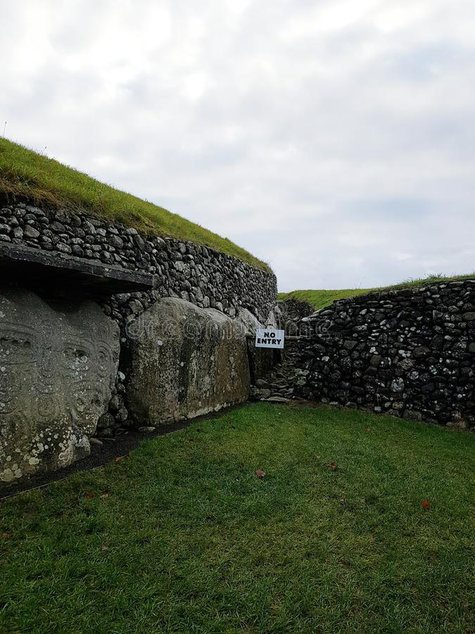 Newgrange monument. Newgrange is a prehistoric monument in County Meath, Ireland, located 8 kilometres west of Drogheda on the north side of the River Boyne. It stock images