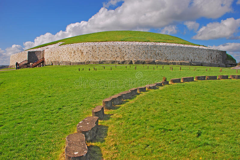 Newgrange prehistoric monument in County Meath Ireland. About one kilometre north River Boyne royalty free stock images