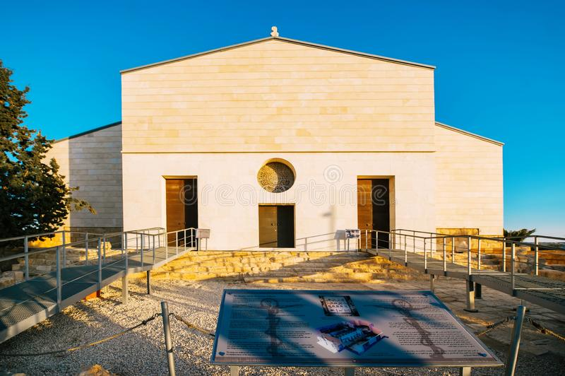 The newly built church of Saint Moses on mount Nebo in Jordan stock image