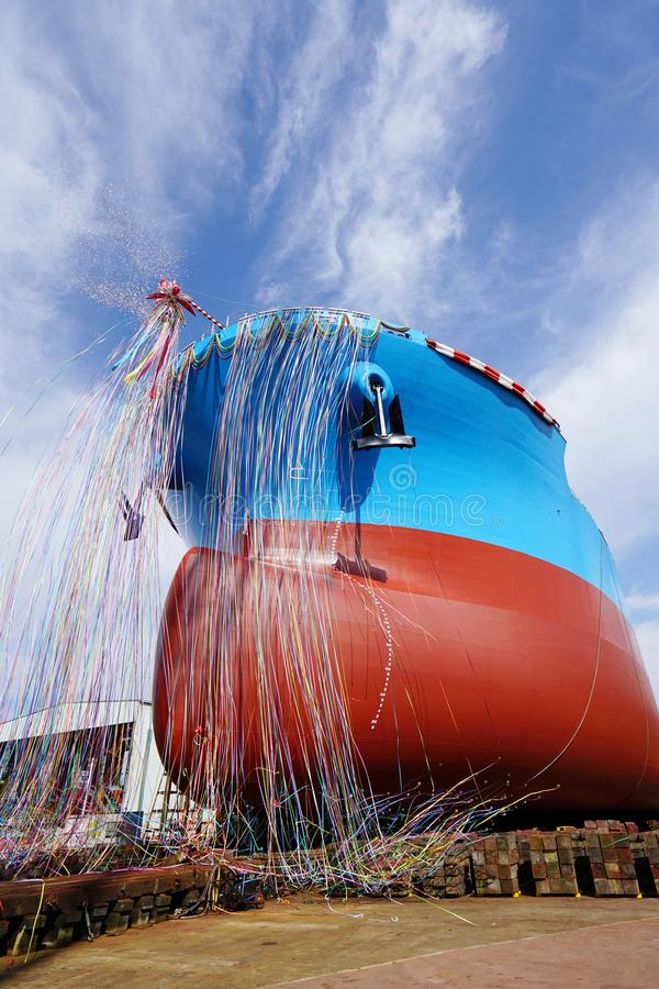 Newly built vessel launching of the shipyard. Newly built vessel during launching of the shipyard in Japan royalty free stock images